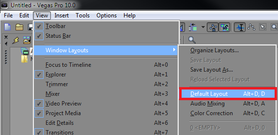 Reset Vegas Pro to Default Layout
